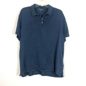 John Varvatos Silk Blend Polo Style Navy Shirt XL